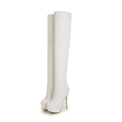 High Platform White Knee Boots (Womens Over Knee Thigh High Heel Stretch Boots Pointed Toe Faux Leather Pull On Sexy Boots White)