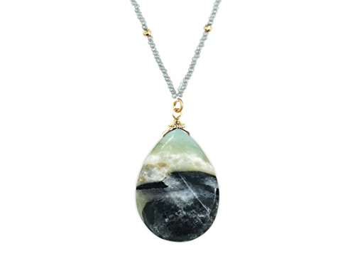[Handmade Faceted Pear Shape Natural Stone Pendant Necklace with Seed Beads] Gray-Jet Amazonite (1/8) (Pendant Amazonite Stone)