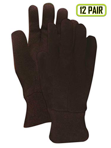 (Magid Safety JerseyMaster T92B Gloves | 8 oz. Clute Pattern Cotton / Polyester Blend Jersey Gloves with a Knit Wrist Cuff - Small, Dark Brown (12 Pairs) )