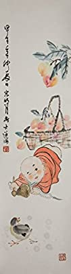 [Chinese Ink and Wash Painting]-A little Monk- 100% creative by Master Song -35.43 x 9.45 inches