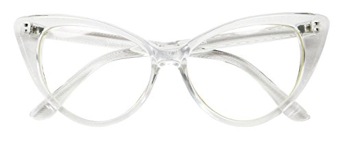 AStyles - Super Cateyes Vintage Inspired Fashion Mod Chic High Pointed Cat Eye Sunglasses Glasses (Clear Clear) - Clear Cat Eye Glasses
