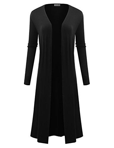 BIADANI Women Classic Long Sleeve Soft Drape Split Hem Light Weight Maxi Cardigan