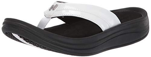 New Balance Women's Revive Thong Flip-Flop, Black/White, 10 B US
