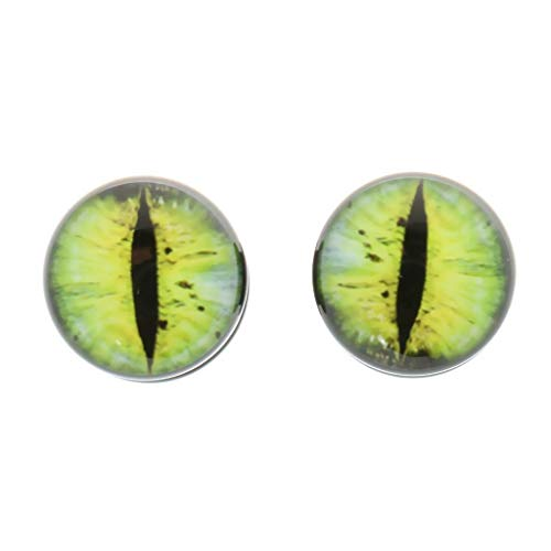 Punk Acrylic Ear Plugs Tunnel Yellow Cat Eye Gauge Expander Stretching Piercings (Diameter - 8 ()