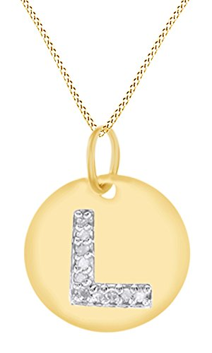 AFFY White Natural Diamond Initial L Letter Disc Pendant Necklace in 14k Yellow Gold Over Sterling Silver -