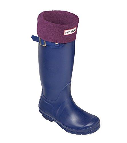 Ladies Original Tall Warm Winter Rain Wellies Wellington Boots Sizes 3-9 UK Navy / Plum