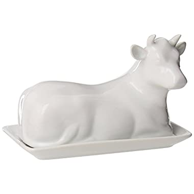 Butter Dish Cow Shaped White Porcelain