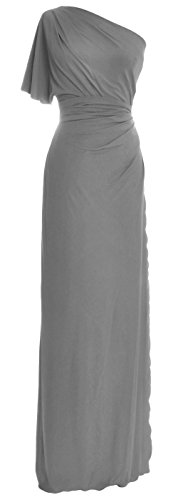 Party Shoulder One Wedding Macloth Elegant Prom Jersey Dress Formal Simple Gray Gown qEw845