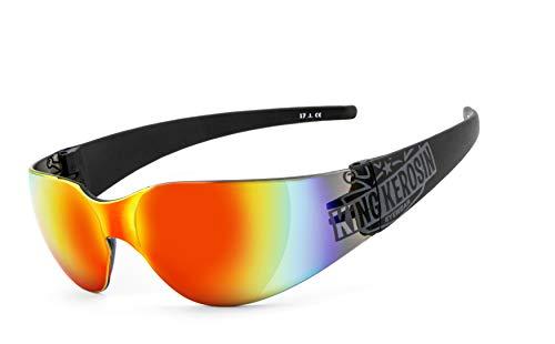 King Kerosin® | UV400 Schutzfilter, HLT® Kunststoff-Sicherheitsglas nach DIN EN 166 | Bikerbrille, Motorradbrille…