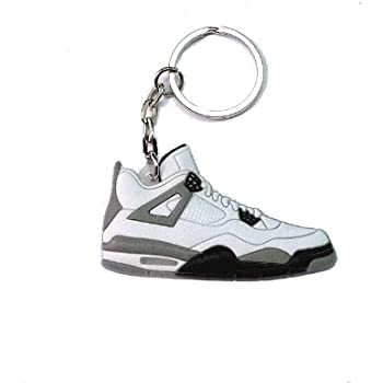 455d4876a054e1 Jordan IV 4 LS White Grey Cement Undefeated Sneakers Shoes Keychain Keyring  AJ 23