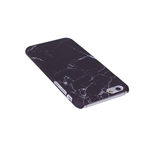 iPhone 6 / 6S Carcasa Cover, IJIA Ultrafino Corea Diseño Natural Mármol Negro PC Plástico Duro Funda Carcasa Tapa Caso Parachoques Cubierta para Apple iPhone 6 / 6S 4.7 + 24K Etiqueta Engomada color-HD12