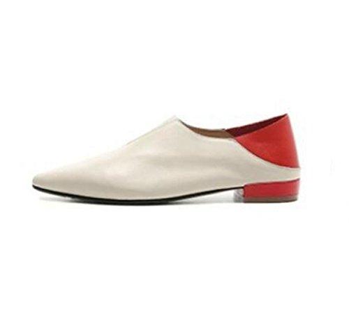 MUYII Zapatos Planos De Cuero Para Mujer Zapatos De Maternidad A Juego Con Color A Juego Beige