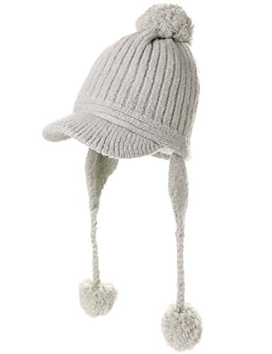 (Peruvian Beanie Ear Flaps Hat Pom Visor Knit Newsboy Womens Winter Hunting Snow Hat Cold Weather Ladies Grey)