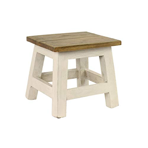 Cute Wooden Light White Finish Mahogany Wood Step Stool Square Shabby Chic Brown Decorative Country Table Rustic Handcrafted Foot Ottoman Kids Sturdy Solid Accent Little Vintage Bench Stand Easy Reach