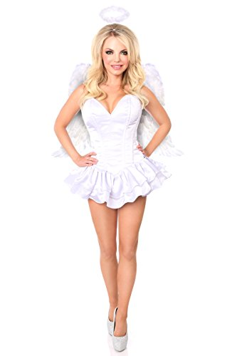 Daisy Corsets Women's Top Drawer Innocent Angel Corset Dress Costume, White, Small