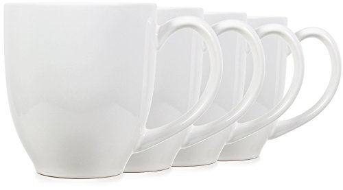 Serami 14oz Bistro Style White Mugs for Coffee or Tea. Large Handles and Ceramic Construction, Set of 4