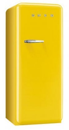 "Smeg FAB28UYWR1 24"" 50s Retro Style Top-Freezer Refrigerator with 9.22 Cu. Ft. Capacity Ice Compartment Interior Light Adjustable Glass Shelves and Bottle Storage in Yellow: Right"