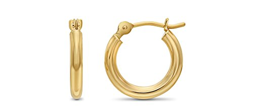 14k Yellow Gold Polished Small Round Hoop Earrings, 12mm (0.48 inch Diameter)