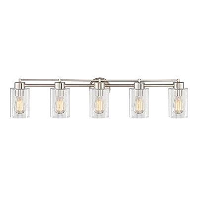 Seeded Glass Bathroom Light Satin Nickel 5 Lt