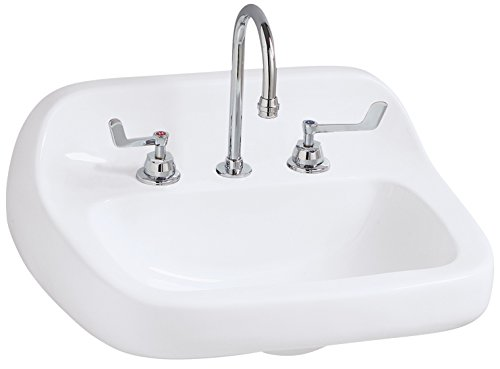 (Mansfield 2018HBNS Grande Isle Wall-Mount Bathroom Sink with Back Splash, White)