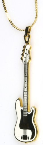 Harmony Jewelry Fender Bass Electric Guitar Necklace - White ()