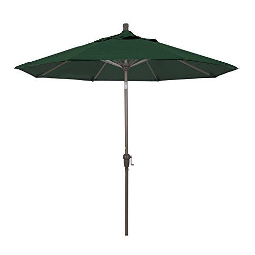 California Umbrella 9-feet Olefin Fabric Aluminum Auto Tilt Market Umbrella with Champagne Pole, Hunter Green