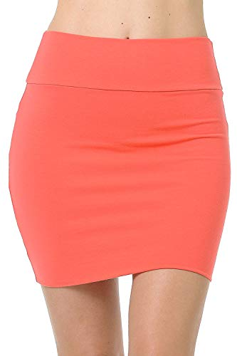 - Fashion Aktiv Basic Double-Layer Cotton Simple Stretchy Tube Pencil Mini Skirt (X-Large, Coral)