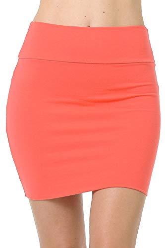 Fashion Aktiv Basic Double-Layer Cotton Simple Stretchy Tube Pencil Mini Skirt (Small, Coral)