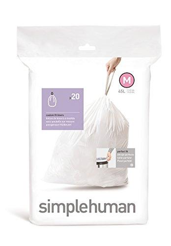 12 Task Bags (simplehuman Code M Custom Fit Trash Can Liner, 1 refill pack (20 liners), 45 L / 12 Gal)