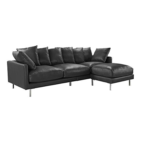 Upholstered Leather Match Sectional Sofa Right or Left Sectional with Chaise - Couch for Living Room, Modern L Shaped Piece (Black) (Black Leather Match Sectional)