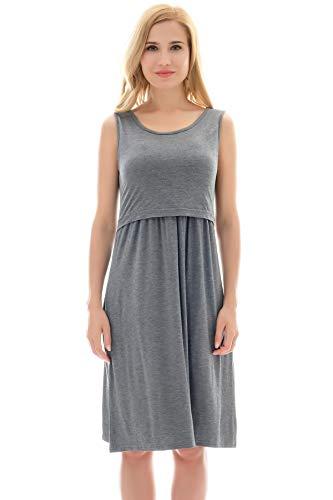 Bearsland Womens Sleeveless Maternity Dress Empire Waist