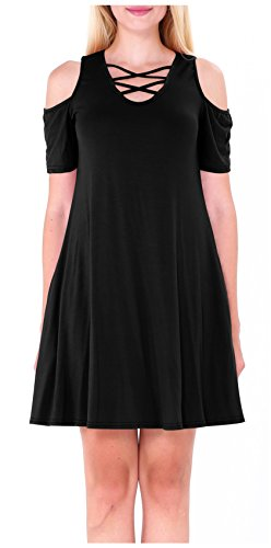 Women's Simple Plain Lace Up Front Casual Dress for Summer Black M