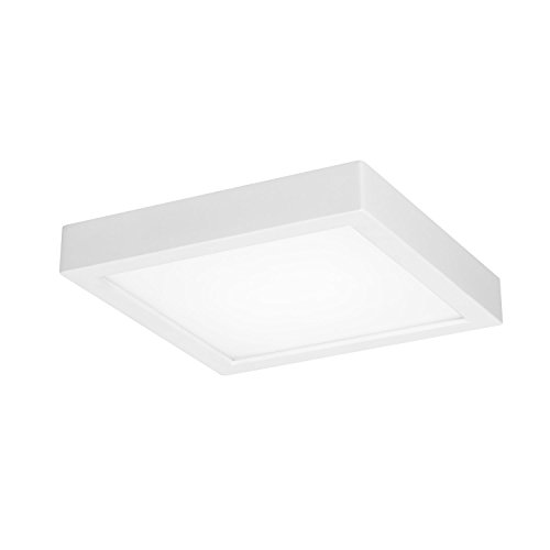 GetInLight Square 6-inch Dimmable Flush Mount Ceiling Fixture, 11 Watt, White Finish, 3000K Soft White, 65W Replacement, Damp Location Rated, ETL Listed, IN-0313-1-WH