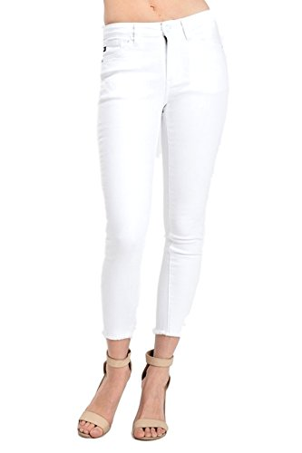 [KanCan Women's Mid Rise Skinny Jeans White KC6003WT (5, White)] (Front Skinny Jeans)