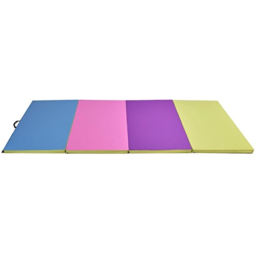 4'x10'x2'' Multicolor Gymnastic Mat Folding Panel Gymnastics Yoga Tumbling Aerobics Dancing Wrestling Martial Arts Stretching Exercise Fitness Thick Floor Mat For Home Kids School Clubs Camps Use