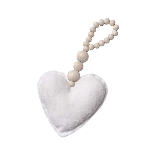 VORCOOL Wooden Bead Ornaments with Heart Pendant Beaded String for Wall Decoration(White)
