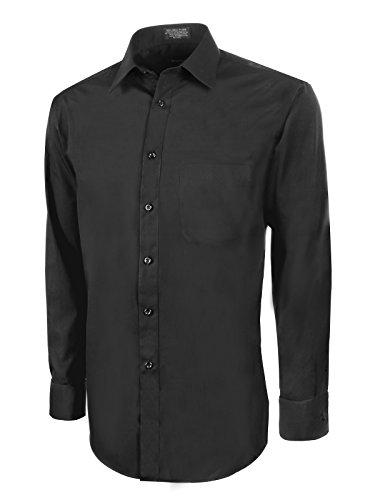 Marquis Men's Slim Fit Dress Shirt - Black,Large 16-16.5 Neck 32/33 Sleeve