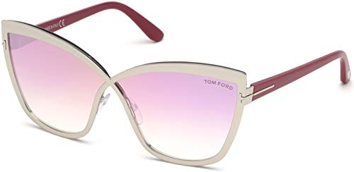 (Sunglasses Tom Ford FT 0715 Sandrine- 02 16Z Shiny Palladium, Red Temples/Gradi)