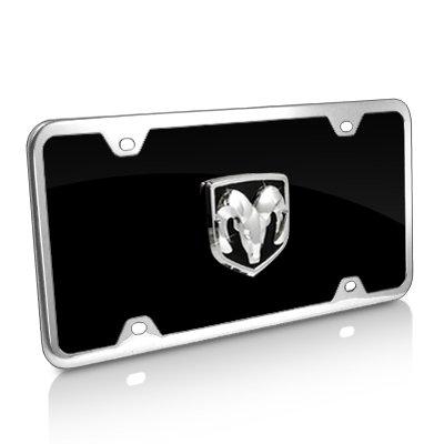 (Au-Tomotive Gold, INC. Dodge RAM 3D Logo Black Acrylic License Plate with Chrome Frame Kit)