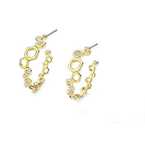 VANA JEWELRY Star Moon Threader Earrings Women Girls Hypoallergenic Sterling Silver Dangle Earrings Bee Butterfly CZ Diamond Stud Sky Blue Planet Tassel Earrings for Sensitive Ears (round-gold)