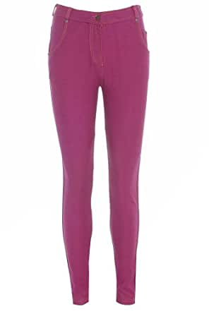 New Womens Ladies Coloured Skinny Stretch Fit Jeans Jeggings Leggings Trousers - Fuchsia - UK 12 - (75% Cotton 20% Polyester 5% Elastane)