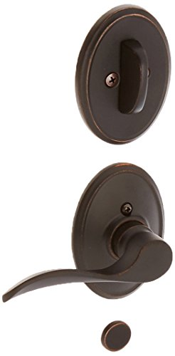 Schalge F94CHP716WKFLH Aged Bronze Interior Pack Champagne Lever Left Handed Dummy Interior Pack with Deadbolt Cover Plate and Decorative Wakefield Rose