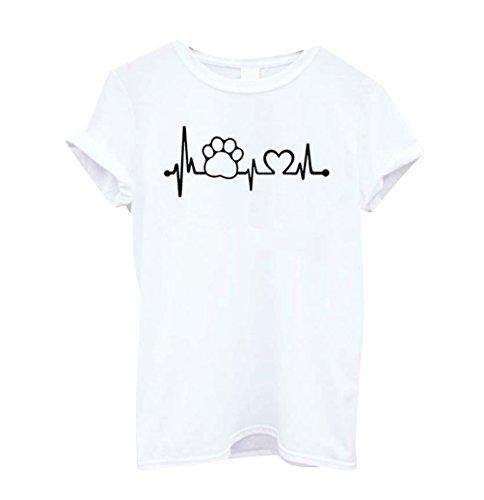 ISSHE Oversize T Shirt Damen Print Rundhals T Shirts Kurzarm Frauen Sommer  Lockere T-Shirt 75d0d2113f
