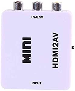 white Mini converter box HDMI to AV HDMI input to audio AV CVBS output