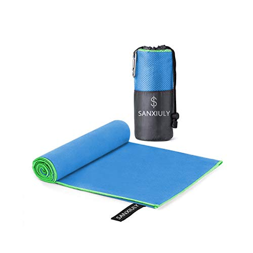 SANXIULY Microfiber Quick Drying Towel for Travel,Camp,Gym,Beach,Swim,Backpacking and More Color Blue Size 2448