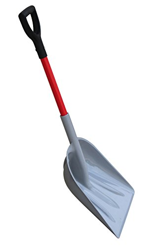TABOR TOOLS J218A Mulch/Snow Scoop with Strong Fiberglass Handle, Large Snow Shovel with Comfortable D-Grip, Short 26