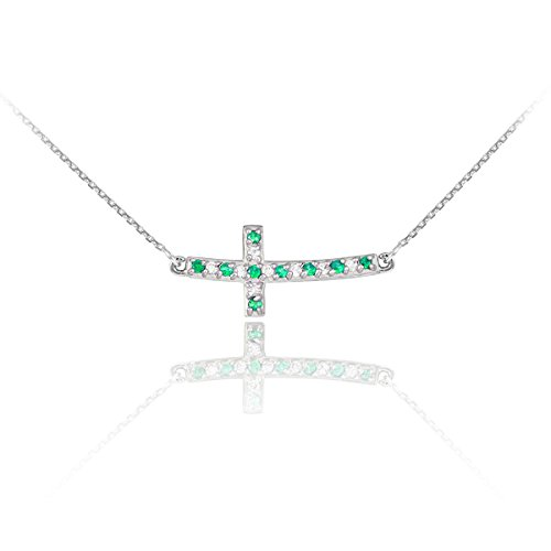14k White Gold Diamond and Emerald Sideways Curved Cross Necklace (18 Inches) -