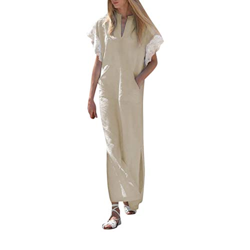 LISTHA Womens Long Sleeve Maxi Dress Kaftan Cotton Plain Casaul Oversized Long ()