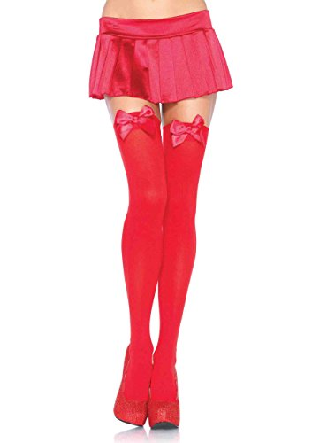 Bow Fishnet Thigh Highs - Leg Avenue Women's Opaque Thigh High Stockings with Satin Bow, Red, One Size