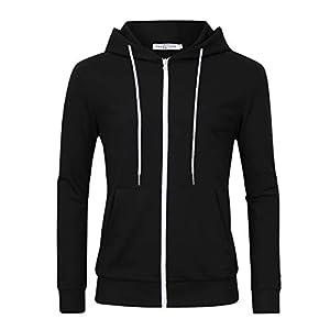 VAN CHY Men's Slim Fit Long Sleeve Lightweight Zip up Hoodie Hooded Sweatshirts with Kanga Pocket